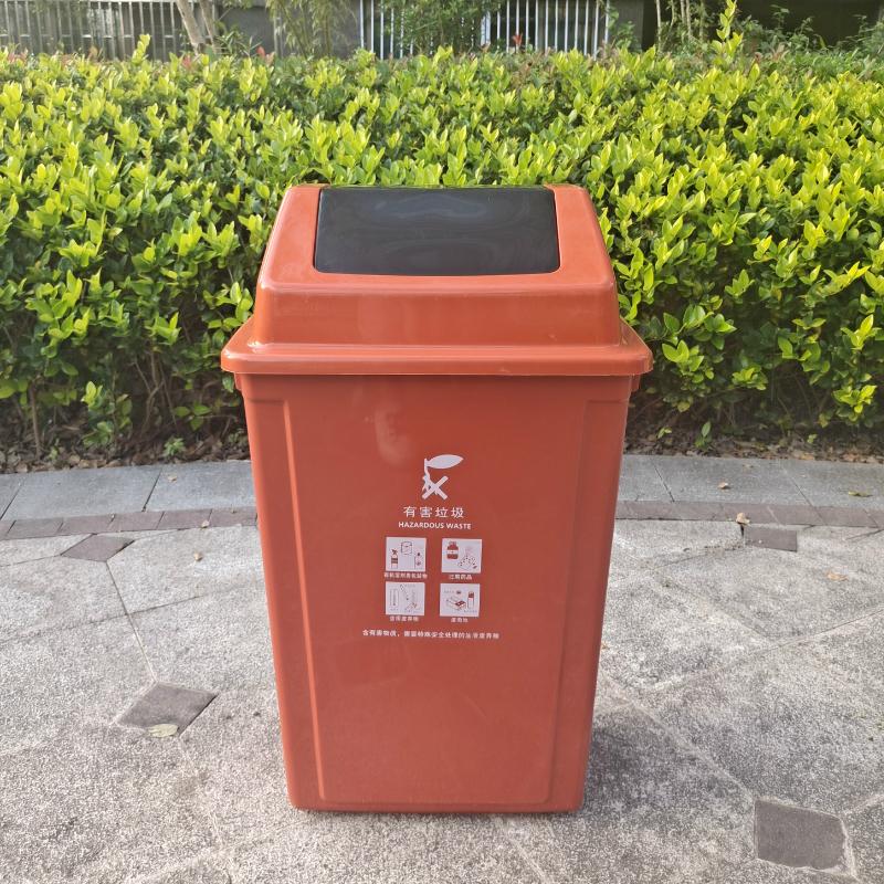上海分类垃圾桶大小号商用翻盖桶摇盖式餐饮厨余干湿分离带盖子室内详细照片
