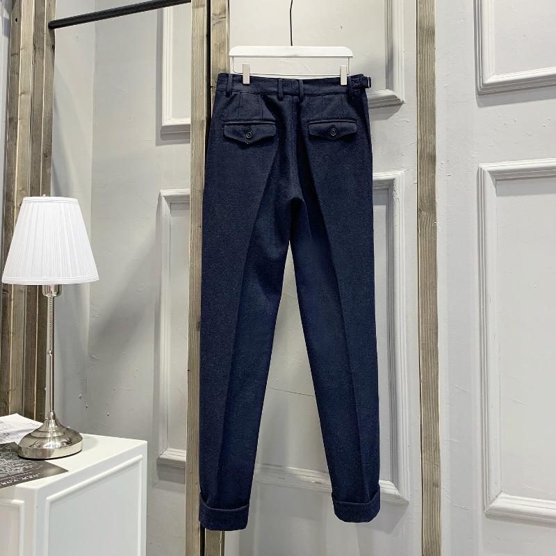 Anh retro Gurkha cuộn tròn quần âu nam flannel nhỏ quần thẳng thẳng gấp đôi Paris khóa quần - Quần