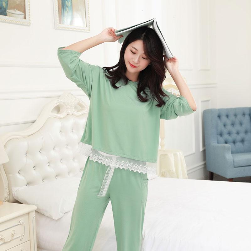 韩版甜美蕾丝睡衣七分袖套装