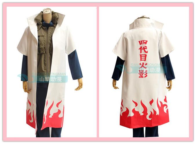 Cosplay Naruto 4th Yondaime Hokage Costume Cloak Uniform