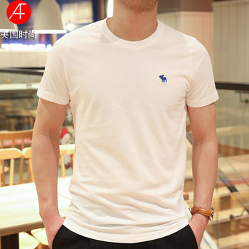 US 2020 new solid color short-sleeved t-shirt af men round neck cotton shirt bottoming casual short-sleeve T-shirt young man