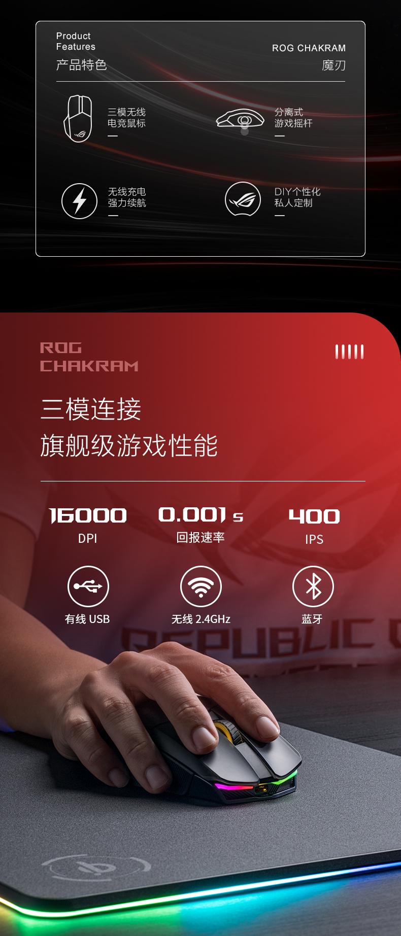 华硕 Asus 玩家国度 魔刃鼠标 QI无线充电 16000dpi 有线无线蓝牙三模通吃