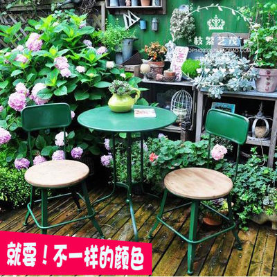 Idyllic Vintage Iron Team Table and Chair Solid Wooden Garden Desktice Art Garden Leisure Table Chair Decoration Outdoors