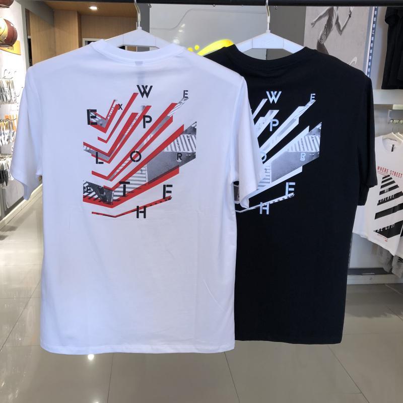 運動風 貴人鳥正品男裝2021夏季新款半袖白色透氣寬松圓領短袖T恤0182065
