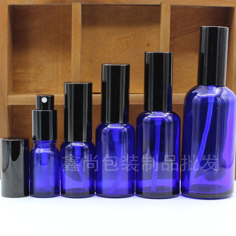 藍色玻璃精油瓶子 精油噴瓶壺香水純露分裝瓶避光細霧黑噴霧現貨