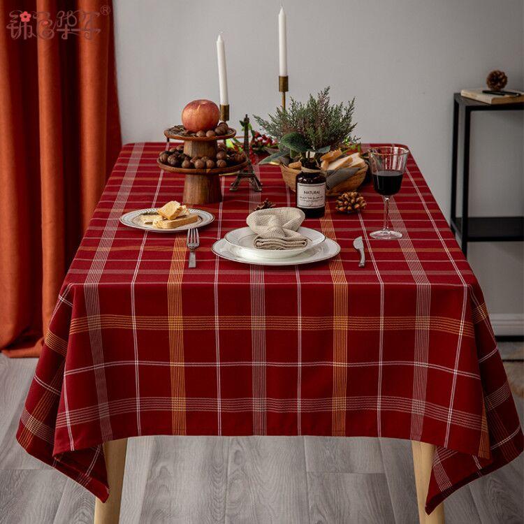红英伦格子布艺桌布简约新年餐桌布长方形茶几桌布台布电视柜盖布