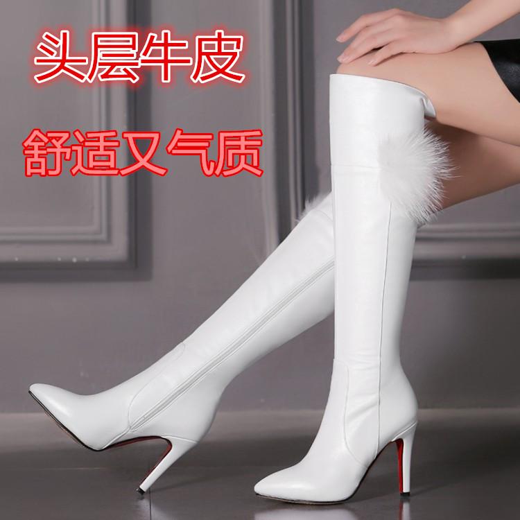 秋冬2019新款婉 百丽正品长靴真皮细跟尖头长筒靴白色高跟女靴子