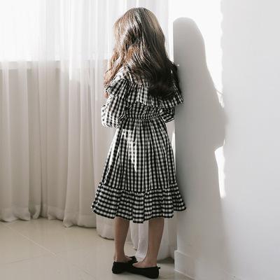 春装新款女童灯笼袖连衣裙花边宽松格子纯棉中大童韩版公主裙