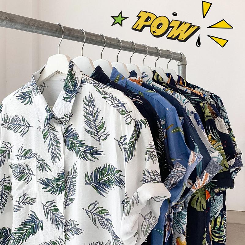 韩版ulzzang西海岸休闲度假风男女印花树叶潮人衬衣宽松短袖衬衫