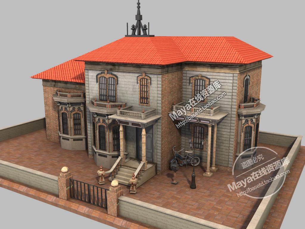maya 模型 素材 卡通场景模型 小别墅 带贴图 独家原创图片