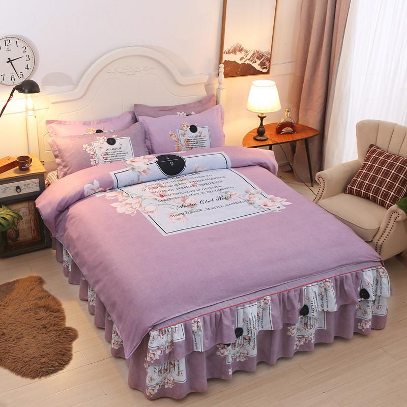 床单被套床上用品四件套全棉纯棉欧式1.8m床结婚庆床罩床裙款简约_领取200元淘宝优惠券