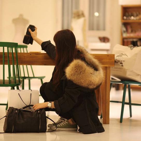 2018冬季黑色棉衣貉子燕尾服毛领外套超大新品大衣中长款长袖棉服