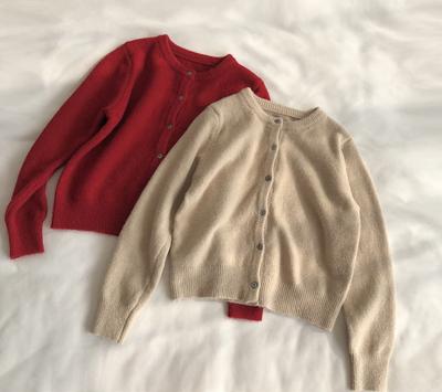 温柔简约 基础圆领毛衣小开衫女纯色百搭长袖针织衫上衣短外套春