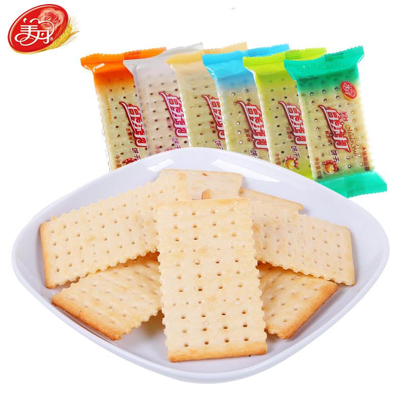 美丹苏打饼干零食点心不添加蔗糖散装整箱代餐孕妇食品香葱味早餐