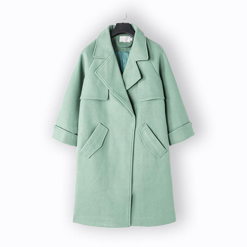 蝶兰弋毛呢外套女2020新款秋东季绿色呢子大衣女装中长款宽松洋气