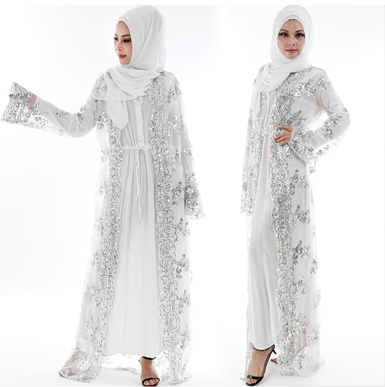 Luxury sequin embroidered lace cardigan - white without headscarf