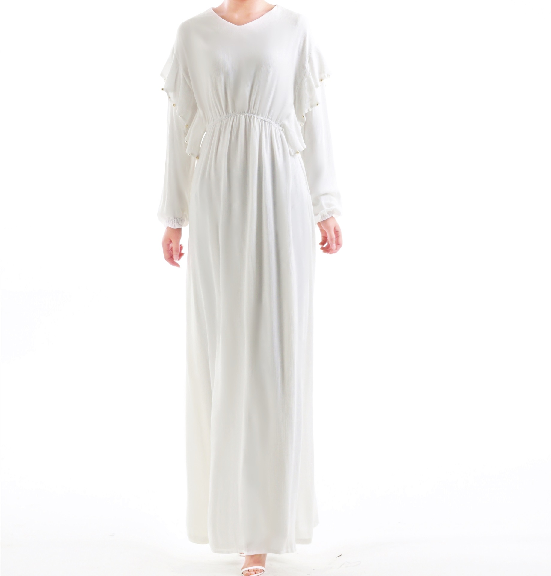 Liuxiang wrinkled pearl bat sleeve dress - white without headscarf