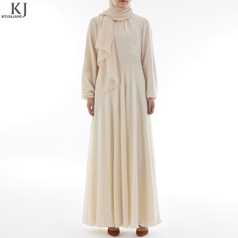 High-density chiffon bottoming dress - beige no headscarf - 3 days delivery