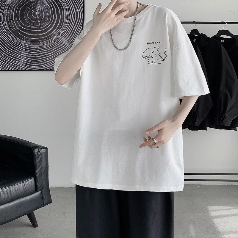 2021年新款短袖T恤男潮流宽松五分袖半袖衣服休闲学生百搭打底衫