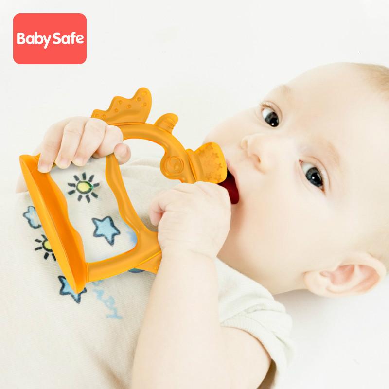 手环牙胶宝宝防吃手神器小蘑菇磨牙棒婴儿6个月咬咬胶玩具可水煮