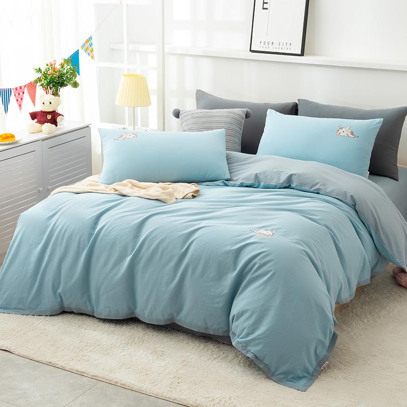 多喜爱旗下 美眠康 双面水洗棉刺绣四件套 1.2-1.8米床