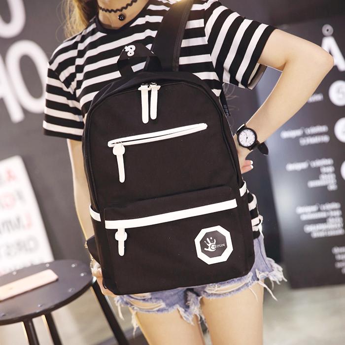 双肩包女韩版帆布书包高中学生女大容量学院风纯色简约电脑背包潮