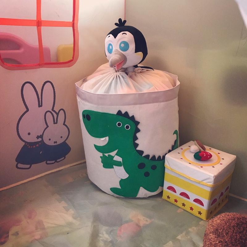 玩具收纳筐脏衣桶布艺带盖可折叠脏衣篓儿童玩具收纳桶卡通特大号