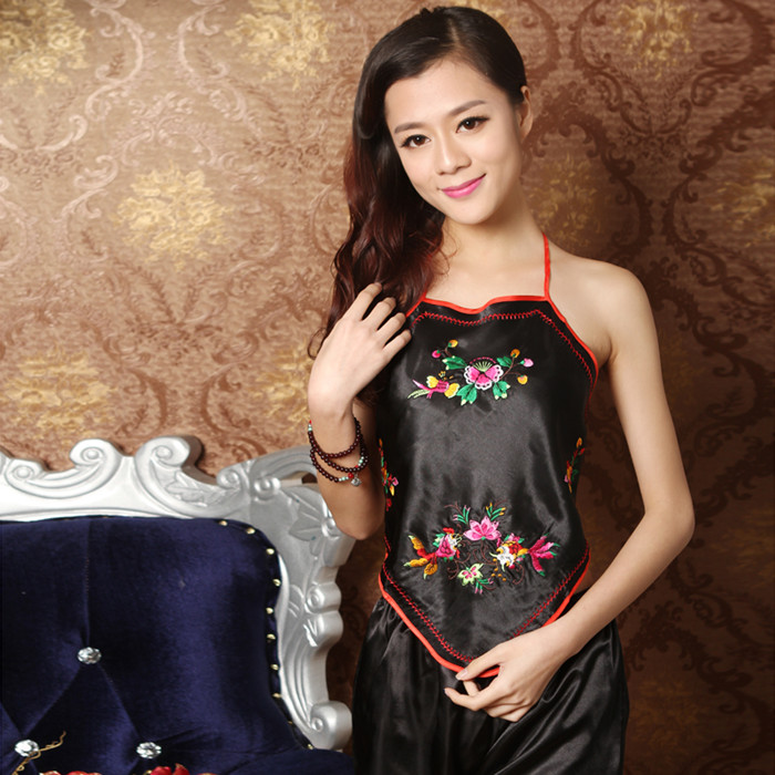 Ladies sexy classical mandarin duck red bellyband free post embroidered  belly bib Sling pajamas special