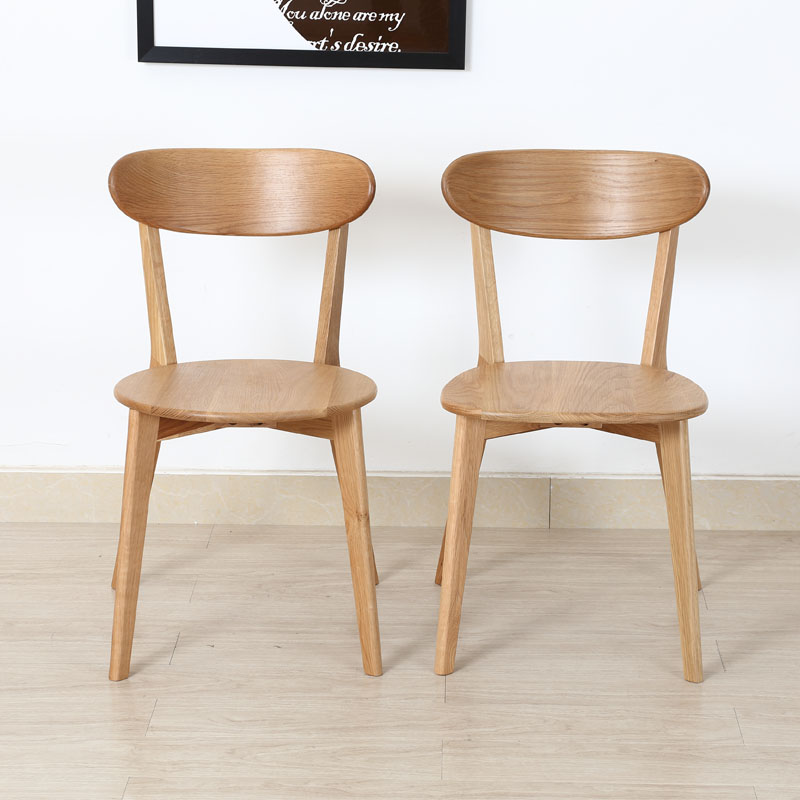 Nordic Solid Wood Dining Chair White Oak Dining Chair Modern Simple Fashion  Restaurant Cross Back