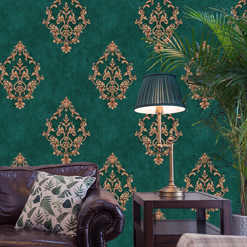 European style pastoral 3d three-dimensional retro dark green big flower wallpaper American vertical striped bedroom living room background wall paper