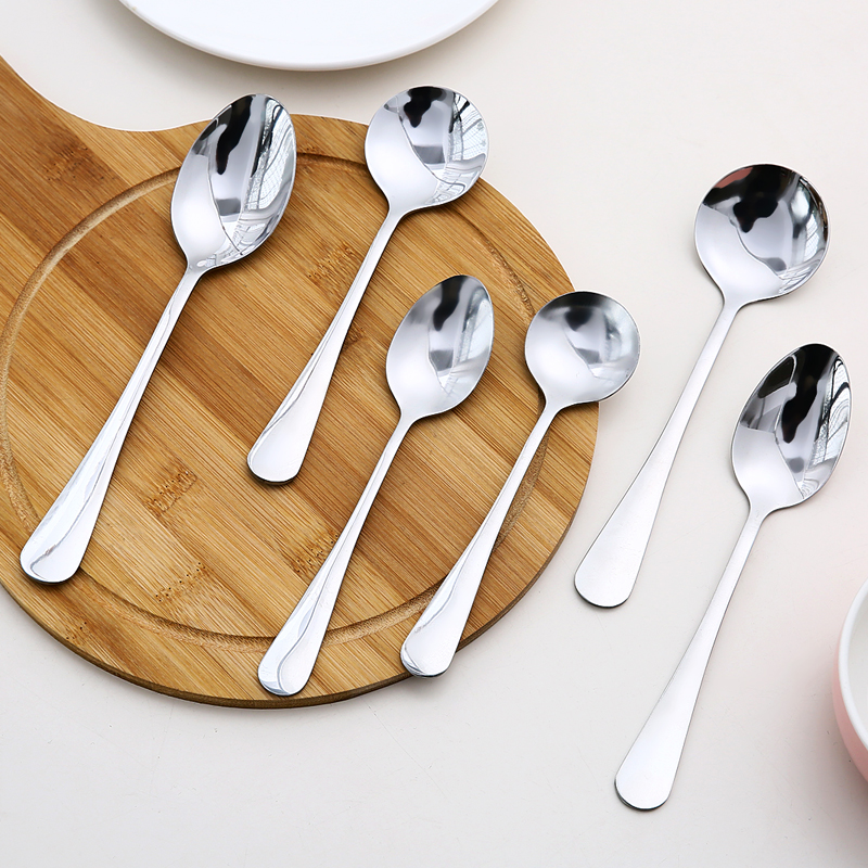 Korean style stainless steel small spoon coffee spoon stirring spoon household utensils spoon long handle iron ... & Korean style stainless steel small spoon coffee spoon stirring spoon ...