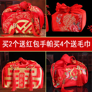 Wedding supplies, bride dowry dowry furoshiki, red wedding basin wrapping cloth, various styles