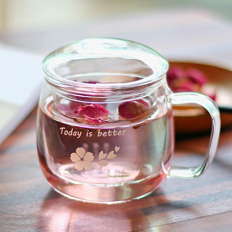 vankine家用办公带盖过滤玻璃杯茶杯-优惠10元包邮