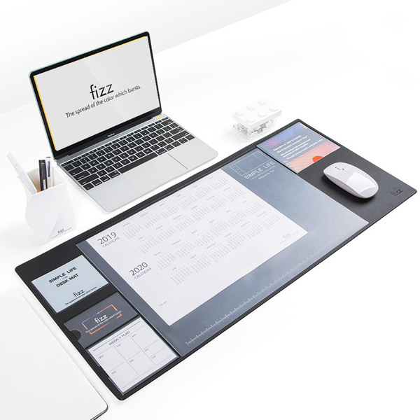 kinbor【fizz】多功能收纳办公桌垫写字黑白大号笔记本...