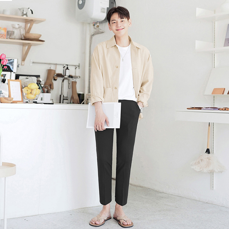 White shirt male Korean version of the trend handsome long-sleeveloose very fairy coat linen men handsome handsome shirt