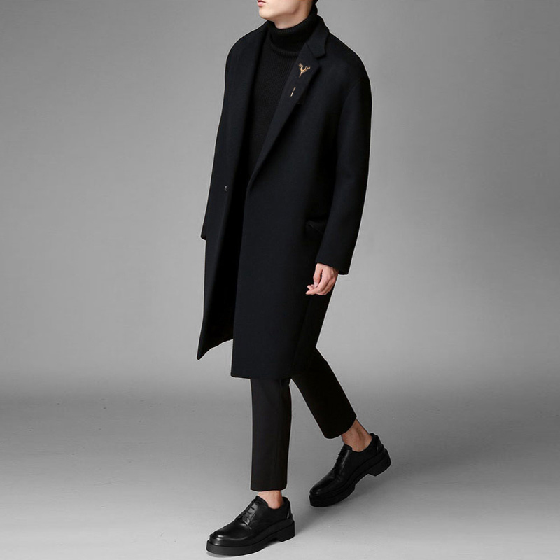 2019 new student hair cashmere coat male young Korean version of loose windbreaker men's long winter coat