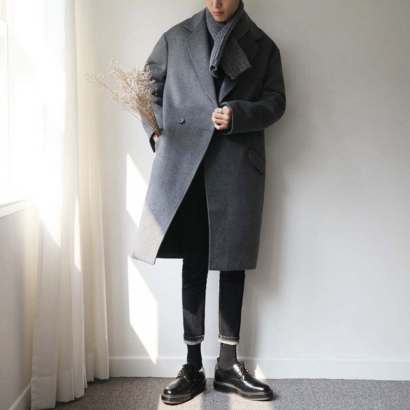 2019 autumn and winter thickening new wool coat men's mid-length windbreaker Korean version of the loose cashmere coat Ni