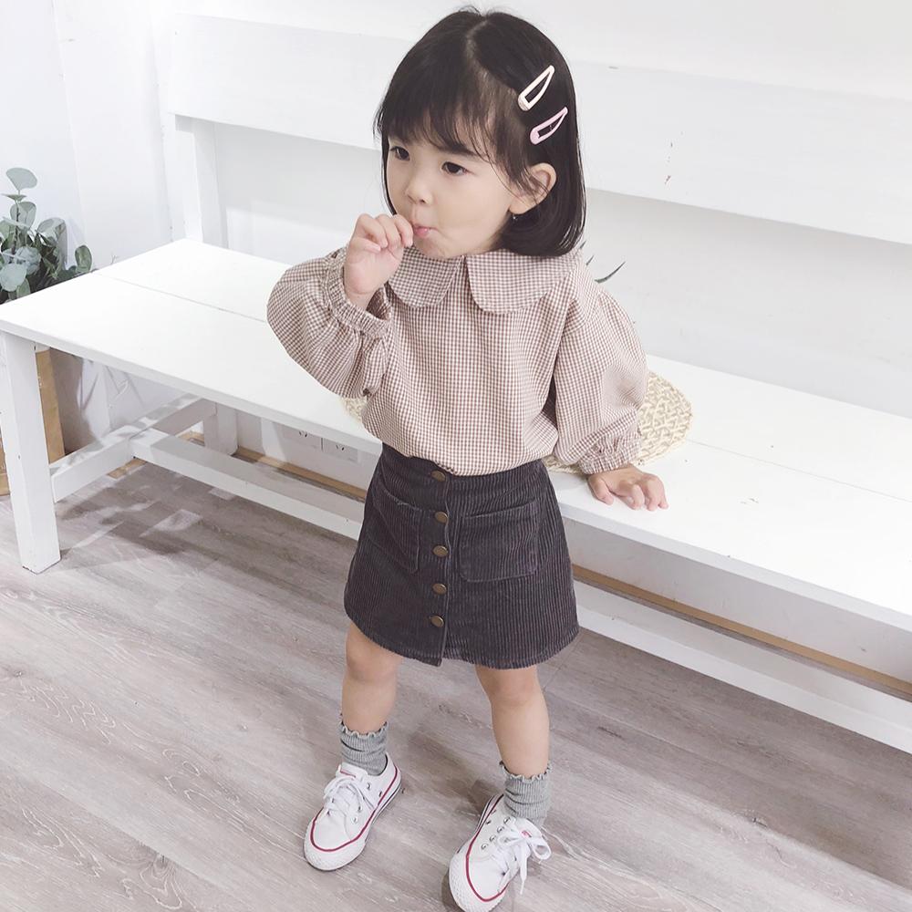 Апельсиновый сок на девочку корейская версия Мало клетчатый сорочка детские Осень 2018 новая коллекция детские Иностранный газ чистый хлопок длинный рукав рубашка