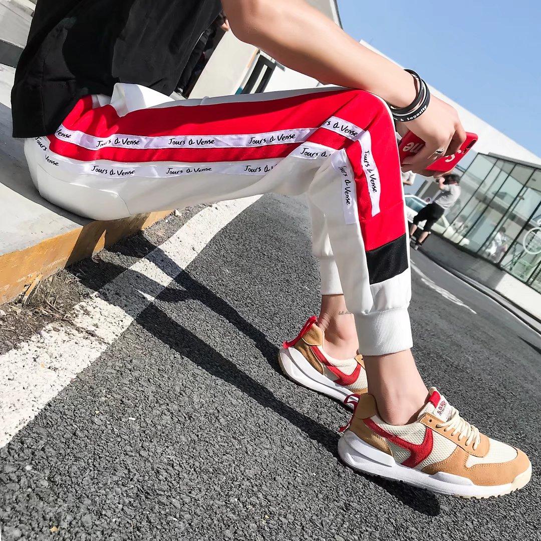 Quần trắng trai Hàn Quốc phiên bản của xu hướng của quần âu chân Mỏng chín quần đa năng thể thao hậu cung quần chùm quần