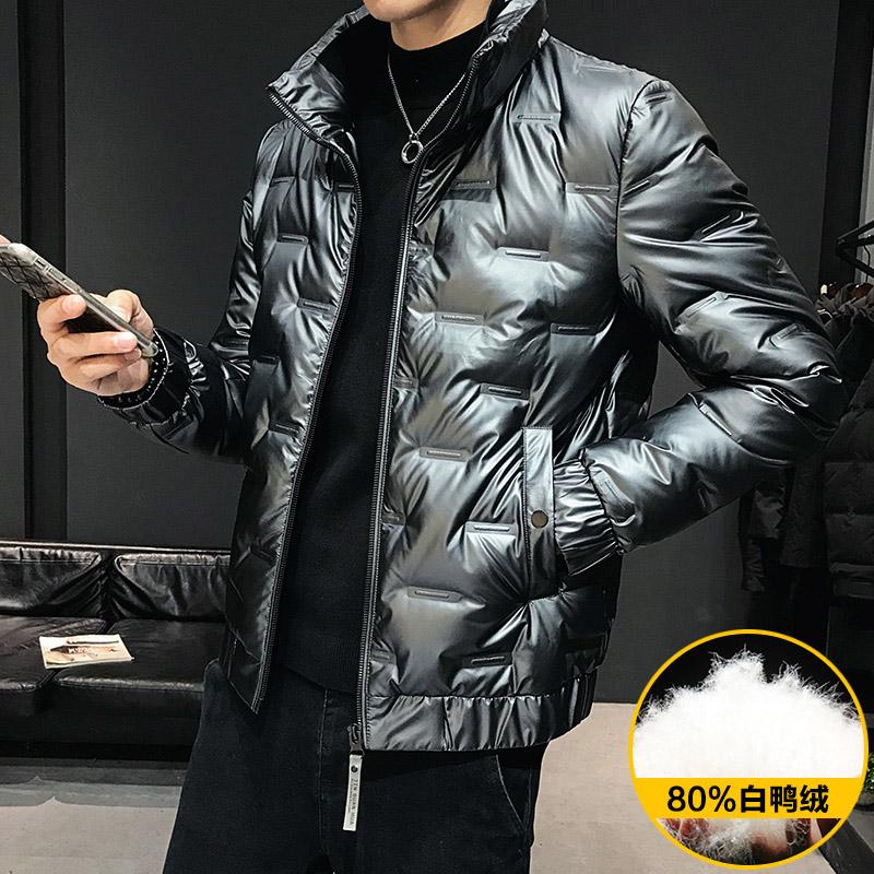 白冬装2019夹克新款轻薄男上衣羽绒服a冬装鸭绒外套时尚潮流立领男