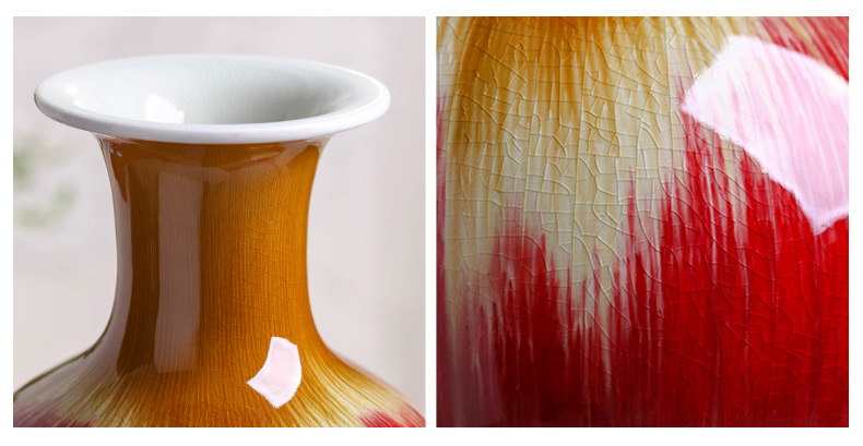 Jingdezhen ceramics ruby red glaze vase flower arranging TV ark adornment archaize sitting room of Chinese style household furnishing articles