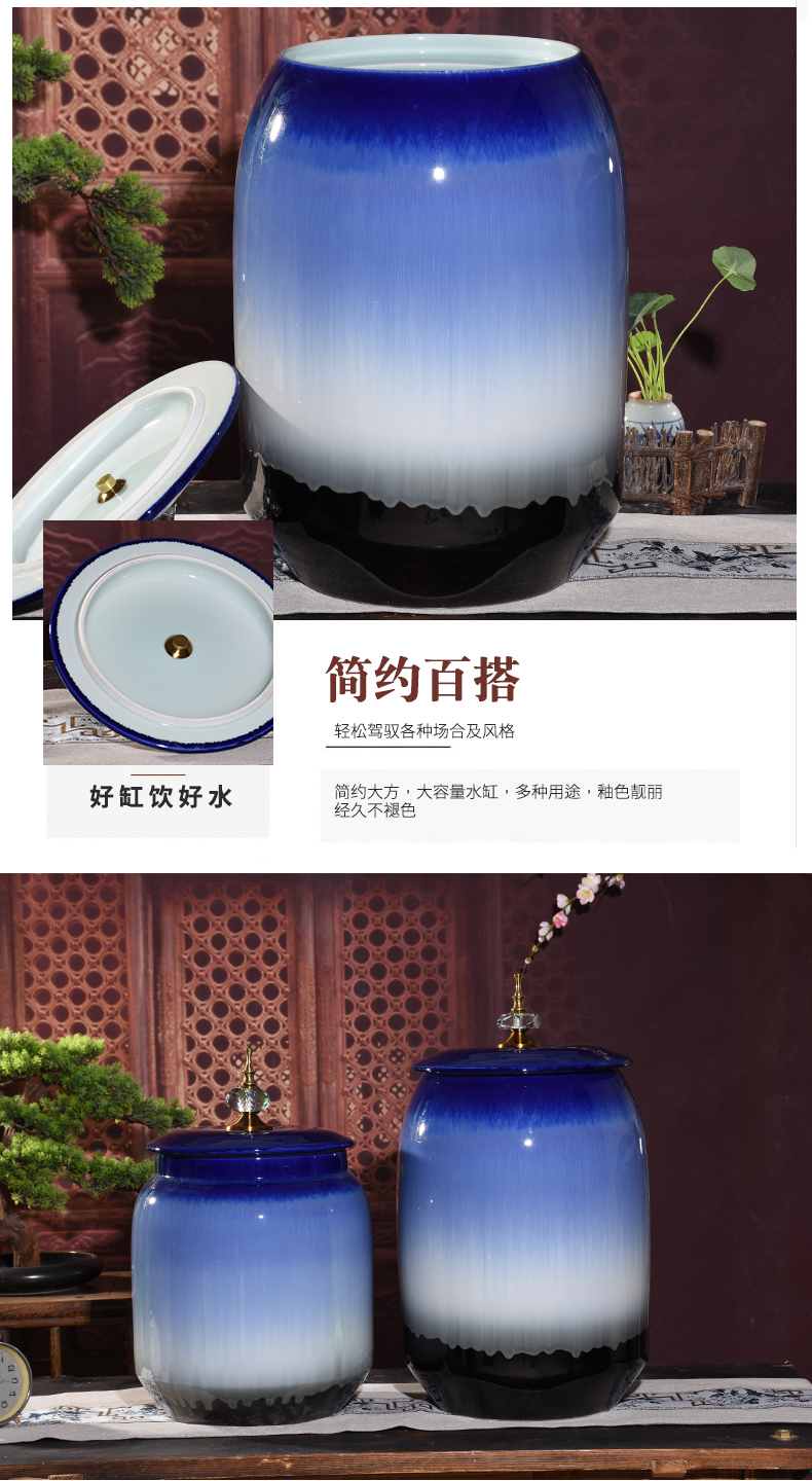 Jingdezhen ceramic barrel of oil tank storage ricer box home a housewarming gift sealed with cover 50 kg moisture worm