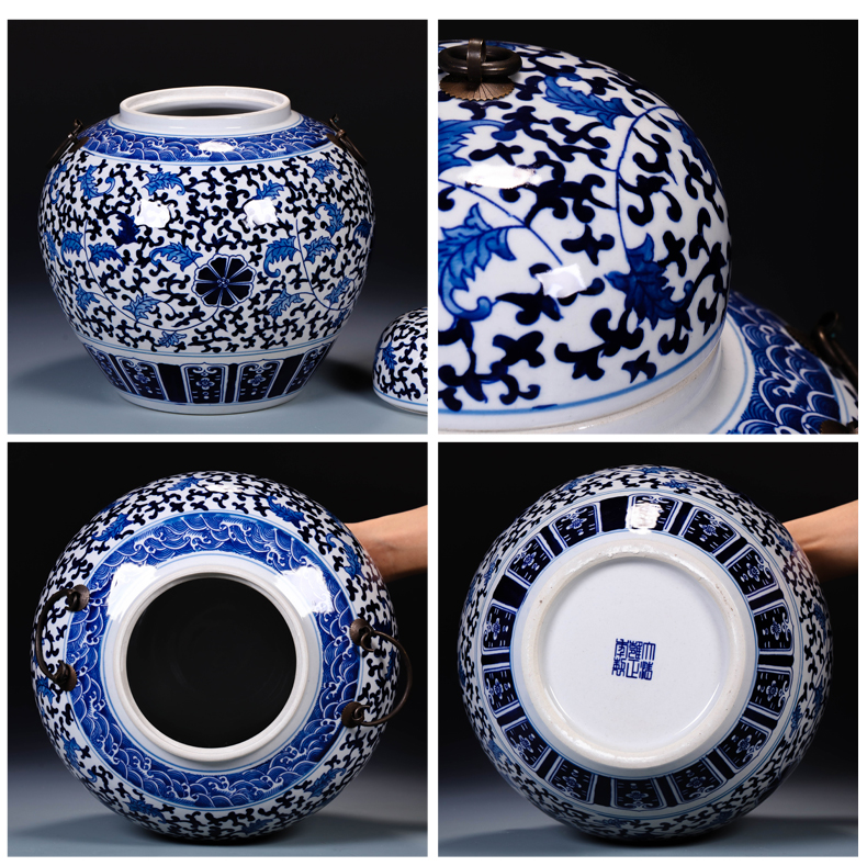 Jingdezhen ceramics with cover caddy fixings storage tank large blue and white tea cake tin, household seal pot moistureproof mildew