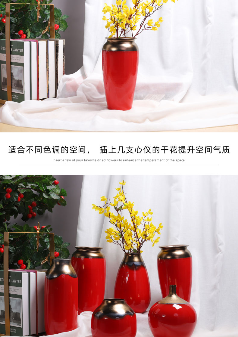 Ceramic floret bottle metal glaze and Chinese red red new Chinese style wedding celebrations flower arrangement sitting room desktop furnishing articles