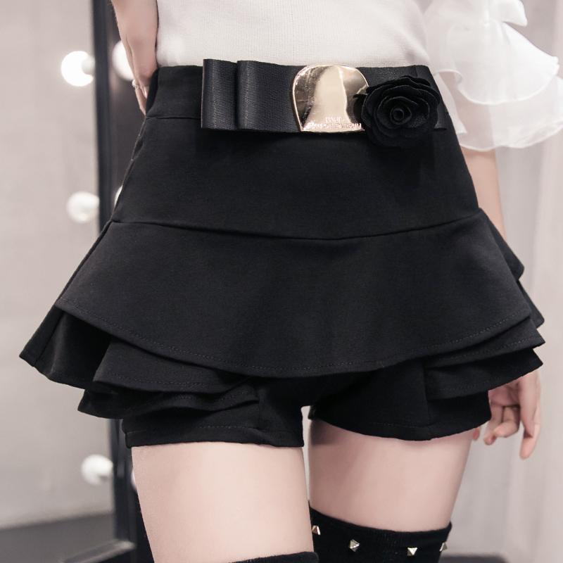荷叶边短裙女春夏2019新款黑色蛋糕裙弹力修身A字蓬蓬裙半身裙裤