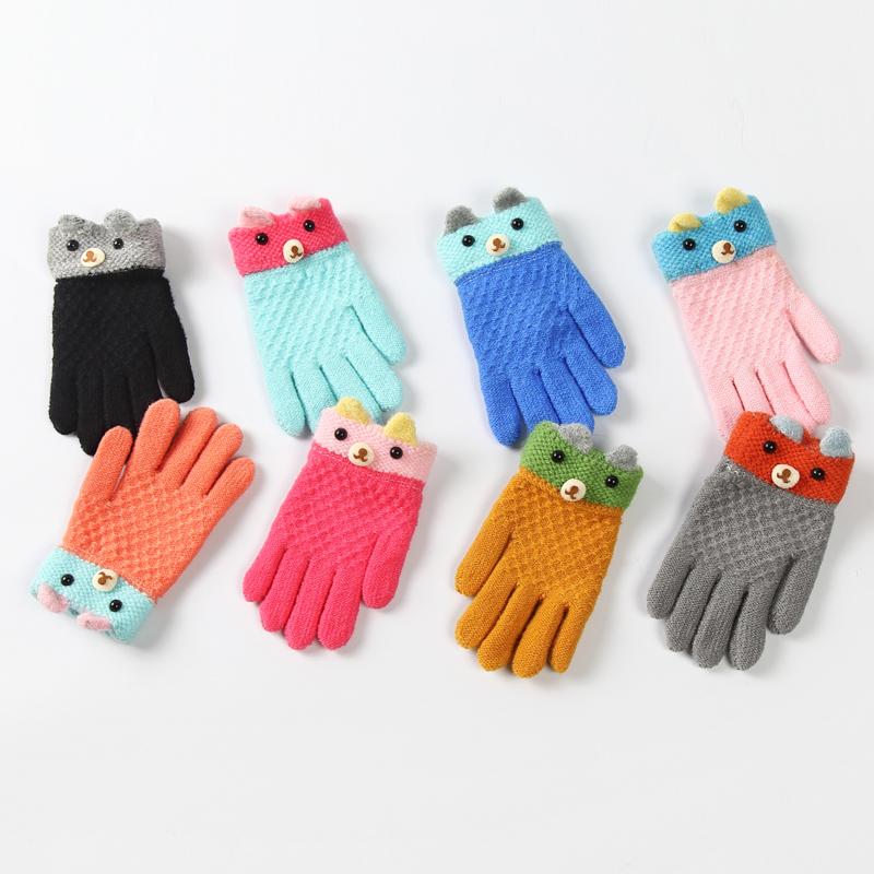 冬季儿童手套中大童宝宝男孩女孩保暖毛线五指加厚手套