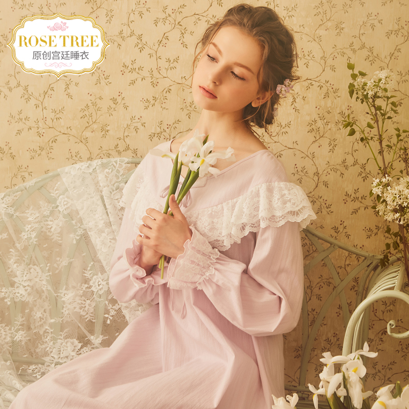RoseTree Palace pajamas autumn women long-sleeved retro lace princess  nightdress female cotton loose autumn 64eb4cd79