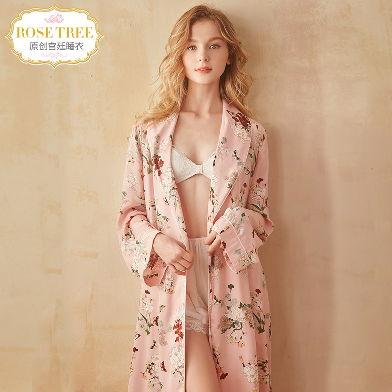 rosetree retro sexy robe spring and autumn silk robe female bride pajamas  long-sleeved long-sleeved Japanese-style bathrobe 818f0f751