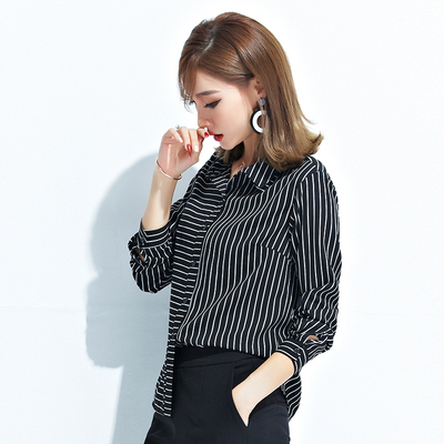 BAYMAY fall new women's fashion stripes irregular chiffon shirt women's long-sleeved shirt heart machine shirt tide