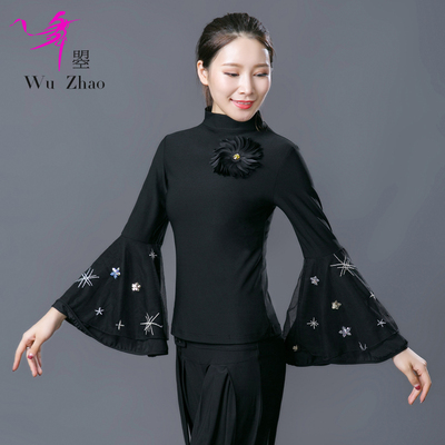 High-collar Bell Sleeve Jacket for modern adult female ballroom dancing dress